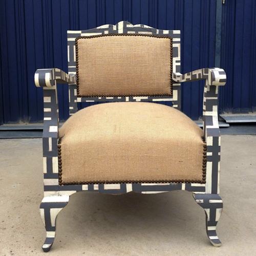 butaca mondrian descalzadora arpillera transformacion reciclaje restauracion muebles mobiliario vintage antiguedades decoracion interiorismo madrid toledo