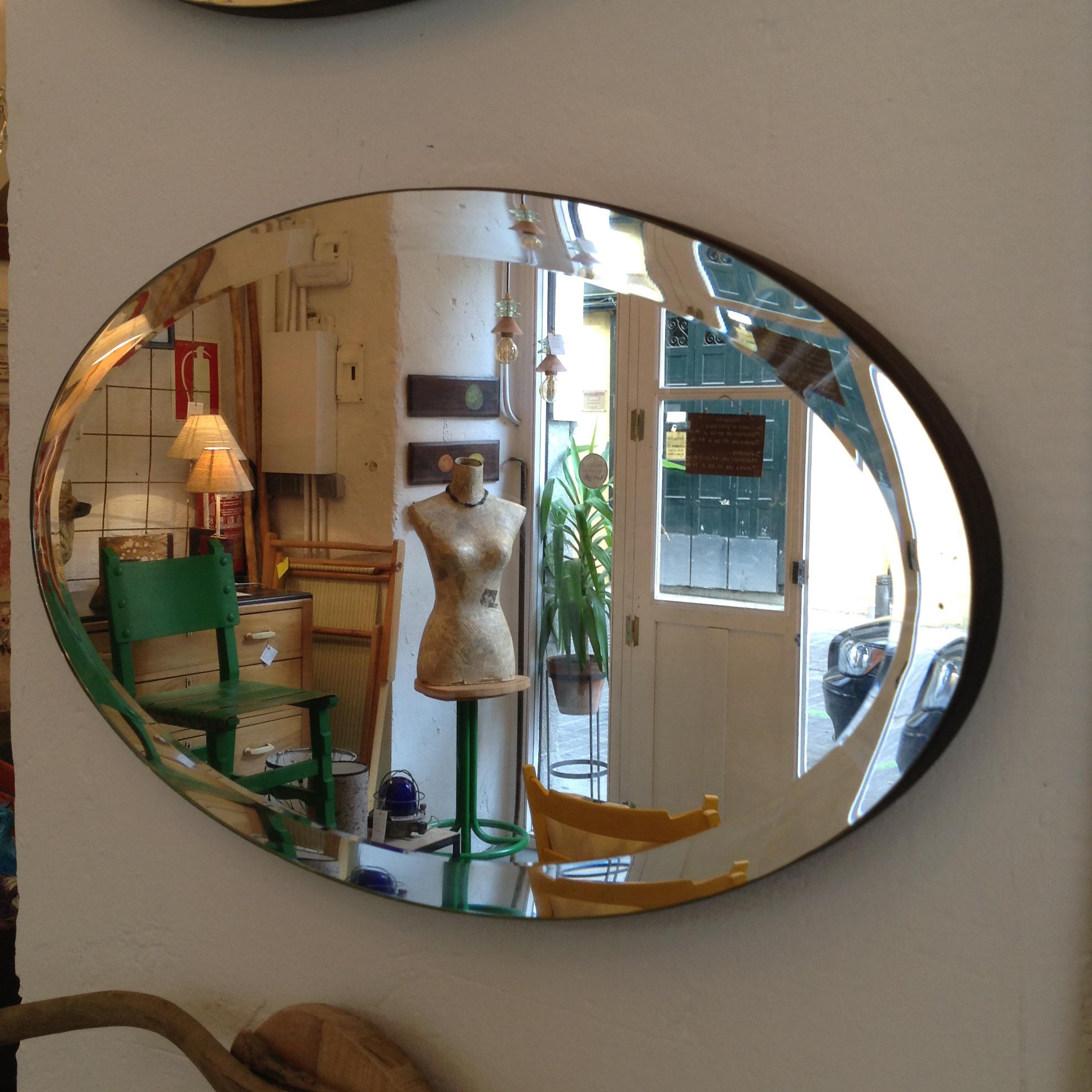 Espejo ovalado biselado decoracion diseño elegante a medida apaisado por encargo Madrid Toledo Interiorismo