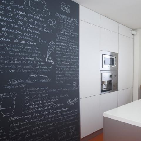 Pintura decorativa cocina mural pizarra recetas