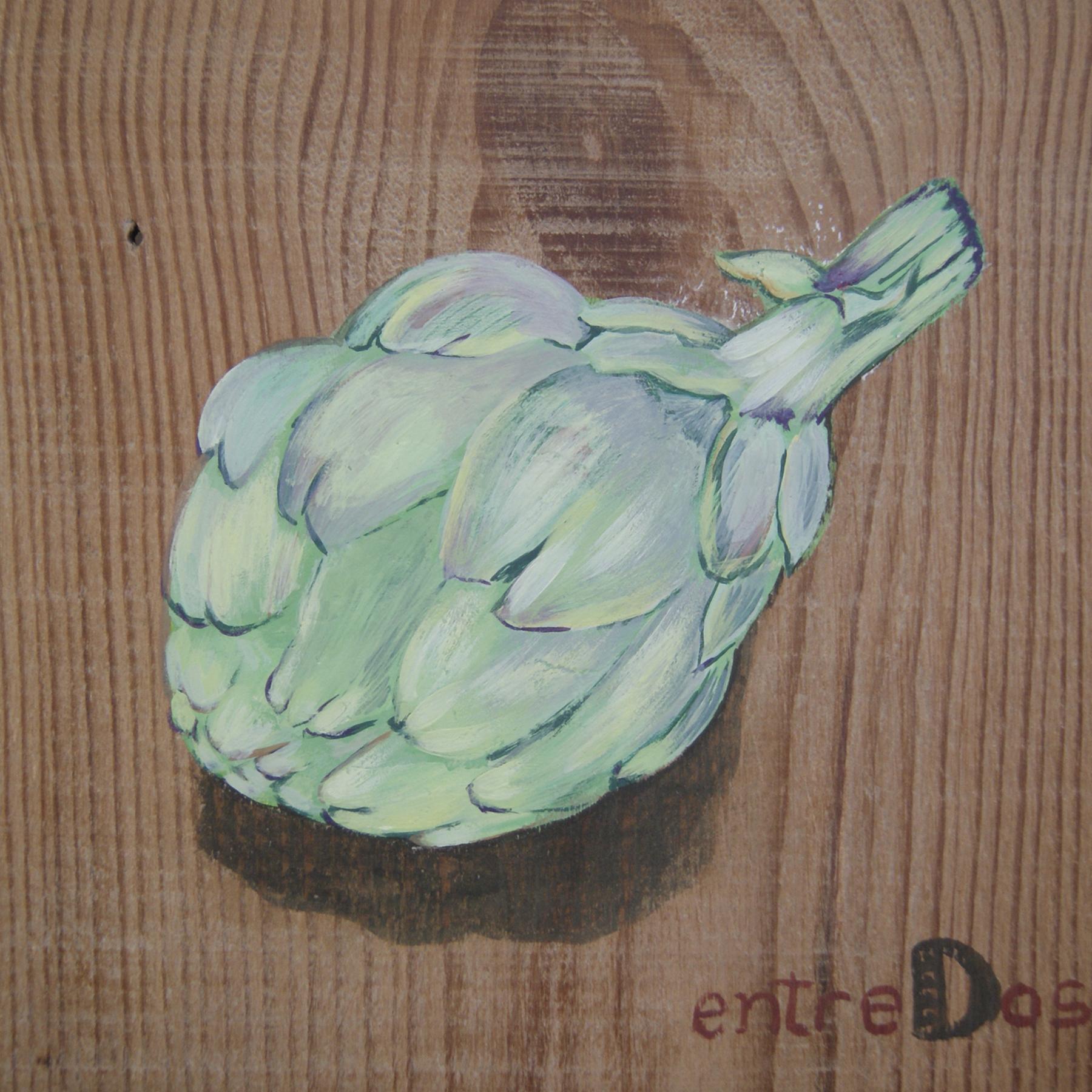 Pintura decorativa alcachofa muebles madera verduras