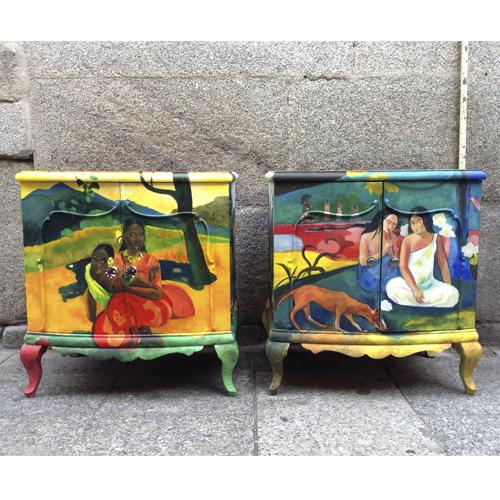 mesillas gauguin pintadas a mano transformacion reciclaje restauracion muebles mobiliario vintage antiguedades decoracion interiorismo madrid toledo