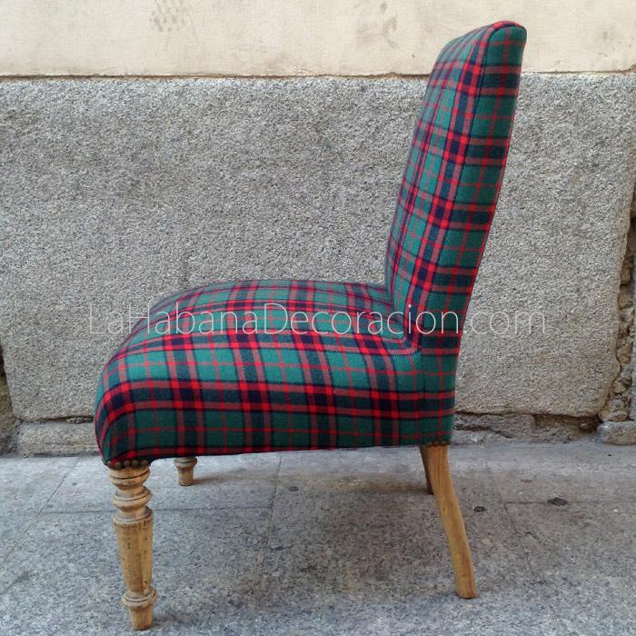 3 sillon vintage silla cuadros escoceses butaca descalzadora rustico estilo chic masculina 2