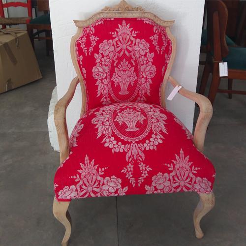 sillon estilo frances color rojo tapizado vintage tela colchon antiguo madera haya lavada años 50 antiguo restaurado 1