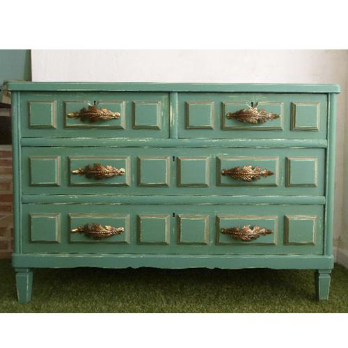 comoda cajones deco verde agua transformacion reciclaje restauracion muebles mobiliario vintage antiguedades decoracion interiorismo madrid toledo