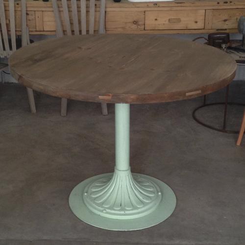 mesa redonda pie hierro mint transformacion reciclaje restauracion muebles mobiliario vintage antiguedades decoracion interiorismo madrid toledo