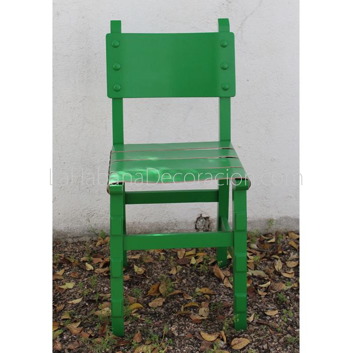 Silla verde castellana cuero reciclada