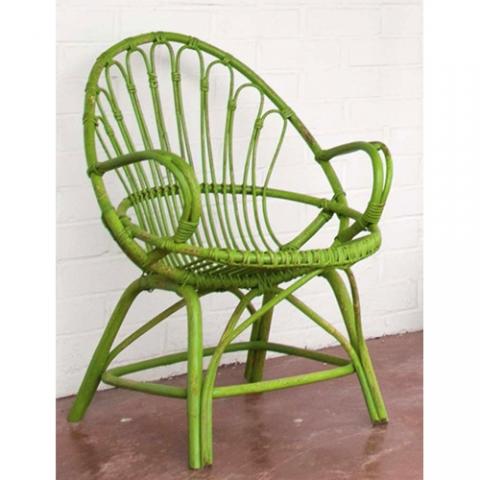 butaca caña vintage verde lima transformacion reciclaje restauracion muebles mobiliario vintage antiguedades decoracion interiorismo madrid toledo