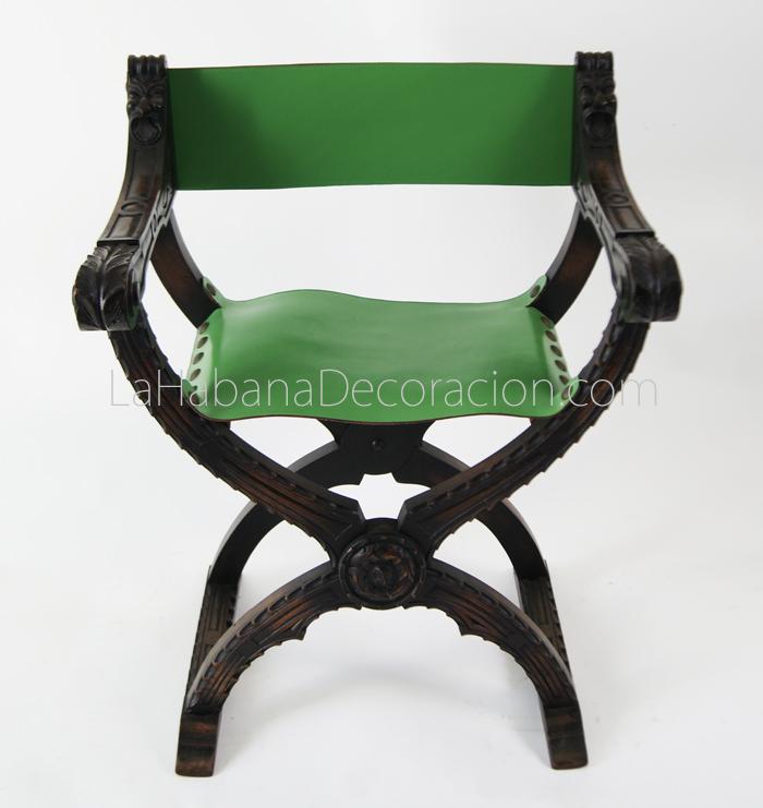 Jamuga cuero verde madera nogal tijera plegable estilo español