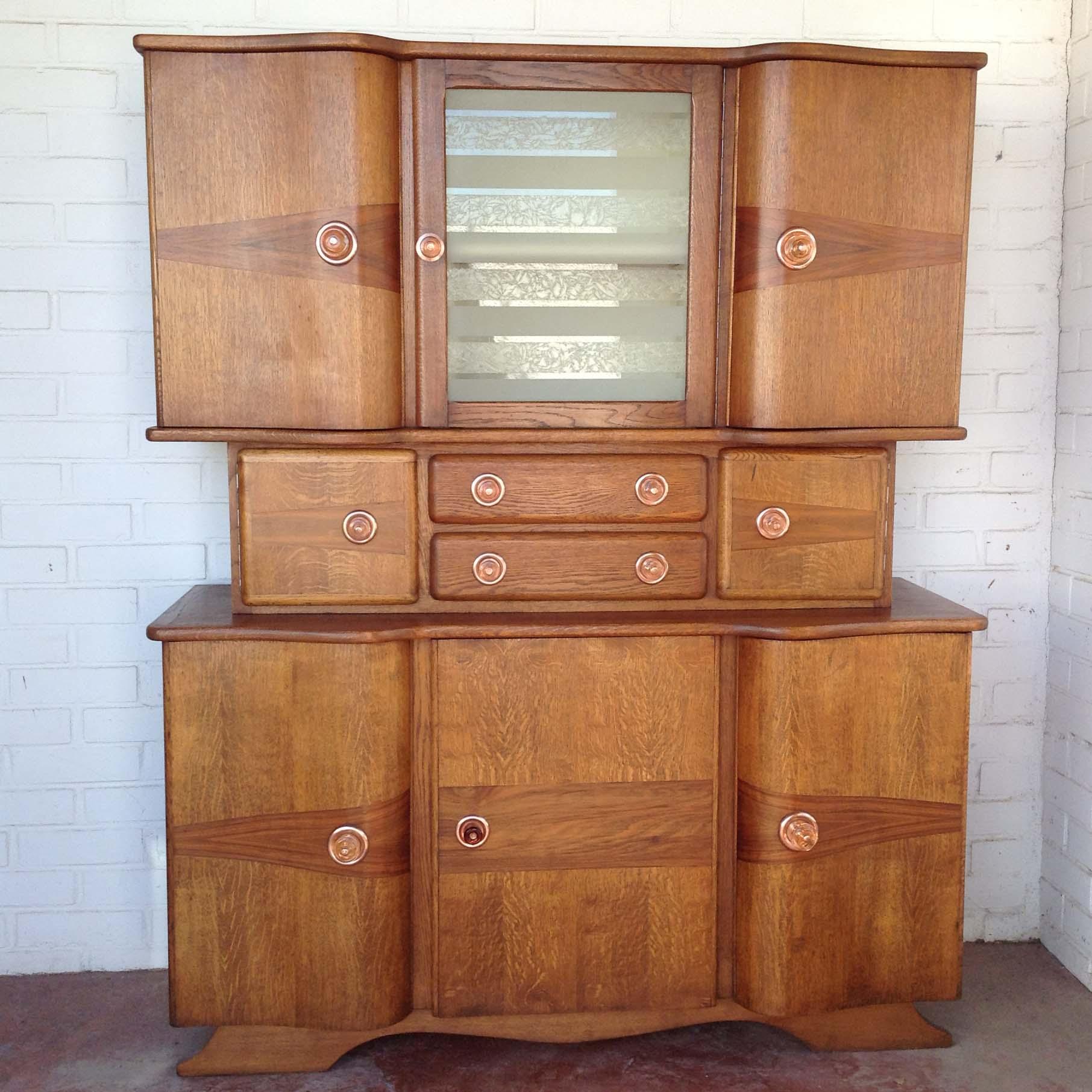 Aparador deco belga nogal vintage madera haya original puertas estilo 1