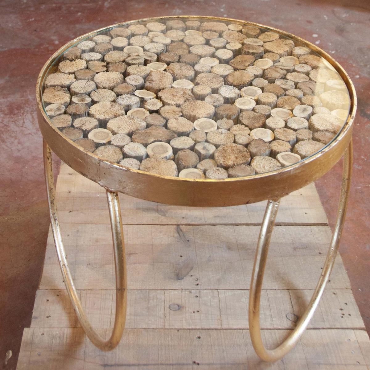 Mesita auxiliar dorada madera oro redonda