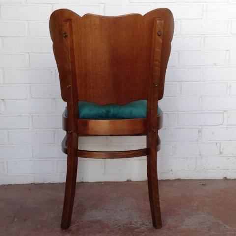 Pareja sillas belgas estilo deco asiento terciopelo algodon verde haya roble vintage antiguas clasicas 4