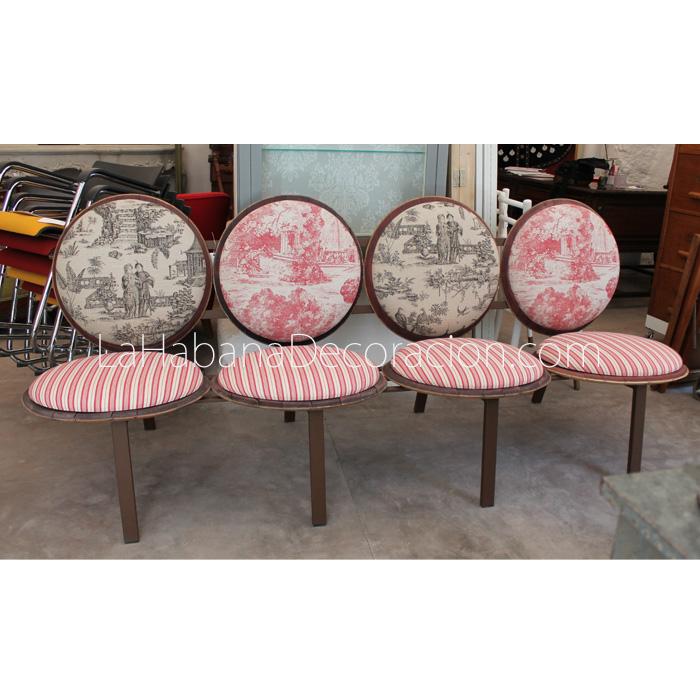 sillon sofa banca original asientos circulos redondos rara banco tapizado tapas barrica vino barriles