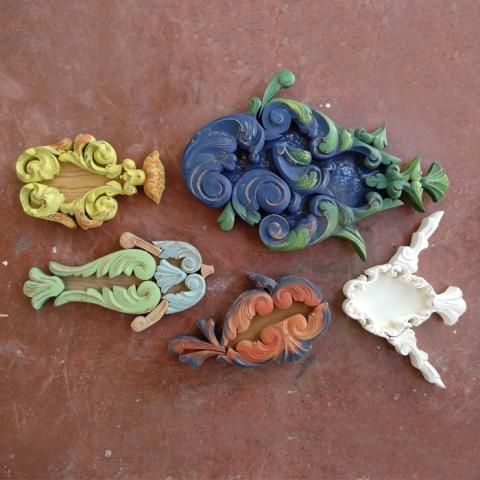 composicion decoracion pared colgar peces colores madera natural molduras antiguas obra arte infantil niños dormitorio