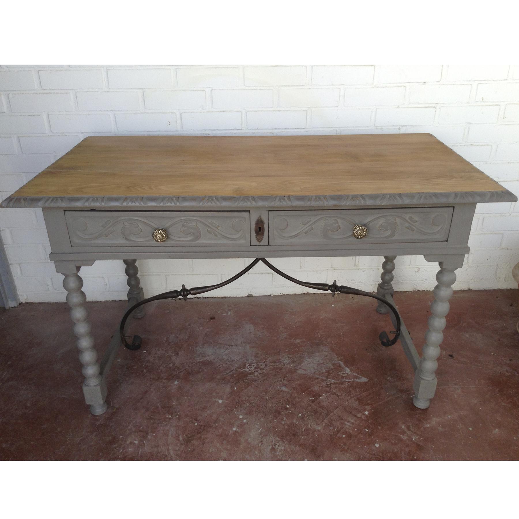 escritorio vintage gris madera 2
