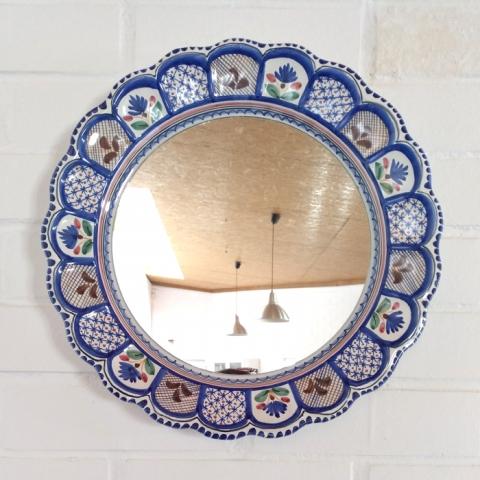 espejo ceramica plato tradicional redondo original color azul tonos azules talavera granate motivos decoracion toledo