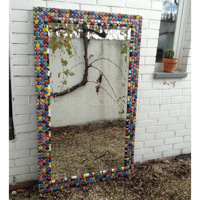 espejo grande original chapas colores apaisado reciclado madera rectangular biselado 1