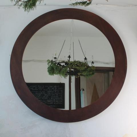 espejo redondo gigante grande metal acero corten decoracion sencillo diseño interiorismo