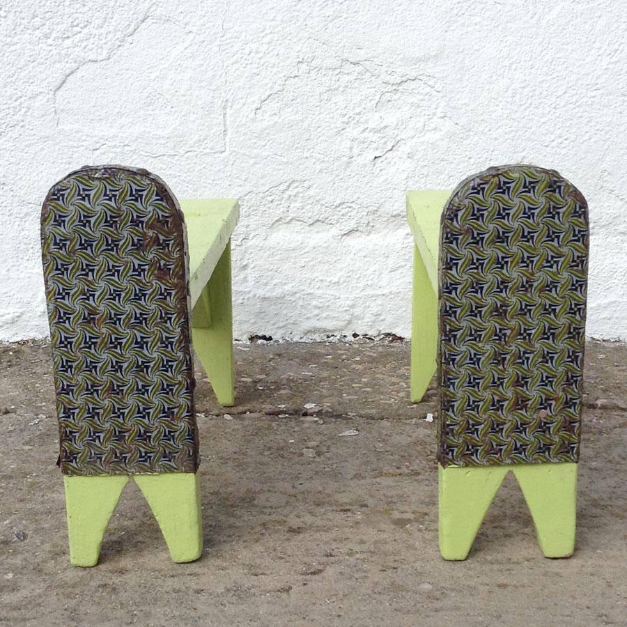 estribos antiguos baul madera chapa original soporte arcon patas colores amarillo vintage 2
