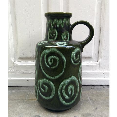 jarron ceramica alemana verde azulado relieve decoracion vintage retro estilo botella west germany w madrid muebles verdoso