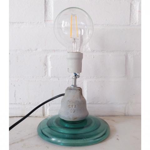 lampara industrial original vidrio aislador jicaras original sobremesa verde