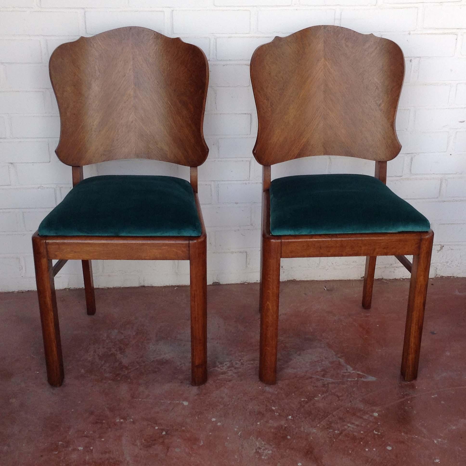 pareja sillas belgas estilo deco madera haya roble terciopelo vintage antiguas 1