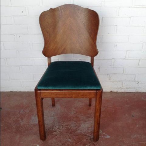 pareja sillas belgas estilo deco madera haya roble terciopelo vintage antiguas 2