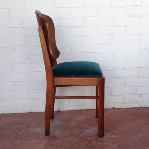 pareja sillas belgas estilo deco madera haya roble terciopelo vintage antiguas 3