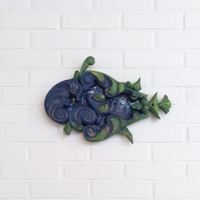 pez azul molduras antiguo colgar decoracion pared mural original composicion peces