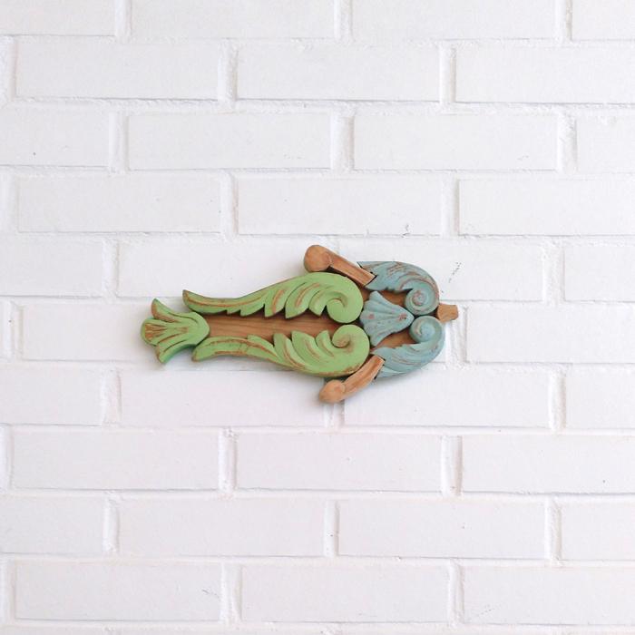 pez verde pastel colgar decoracion pared composicion peces madera modulras antiguas cruda natural dormitorio niños mar infantil