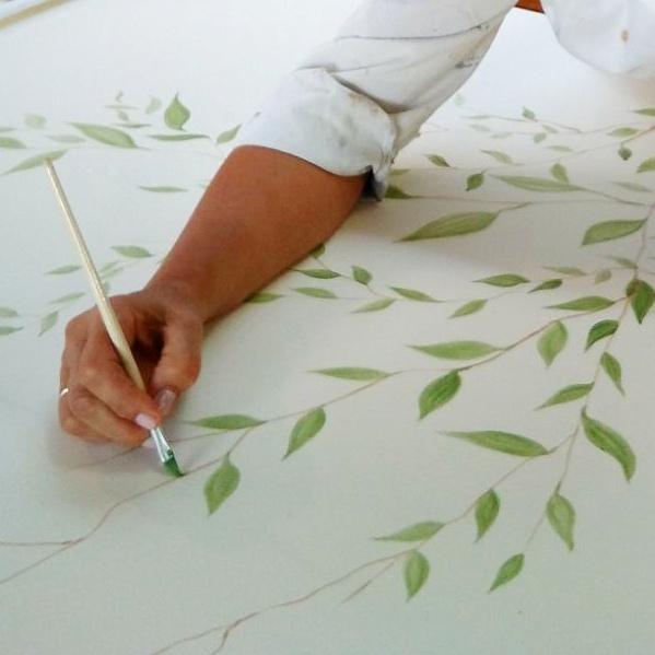 pintura decorativa mural hojas vegetacion