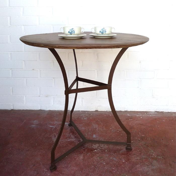 velador mesa redonda madera hierro vintage industrial madera natural roble pequeña 2