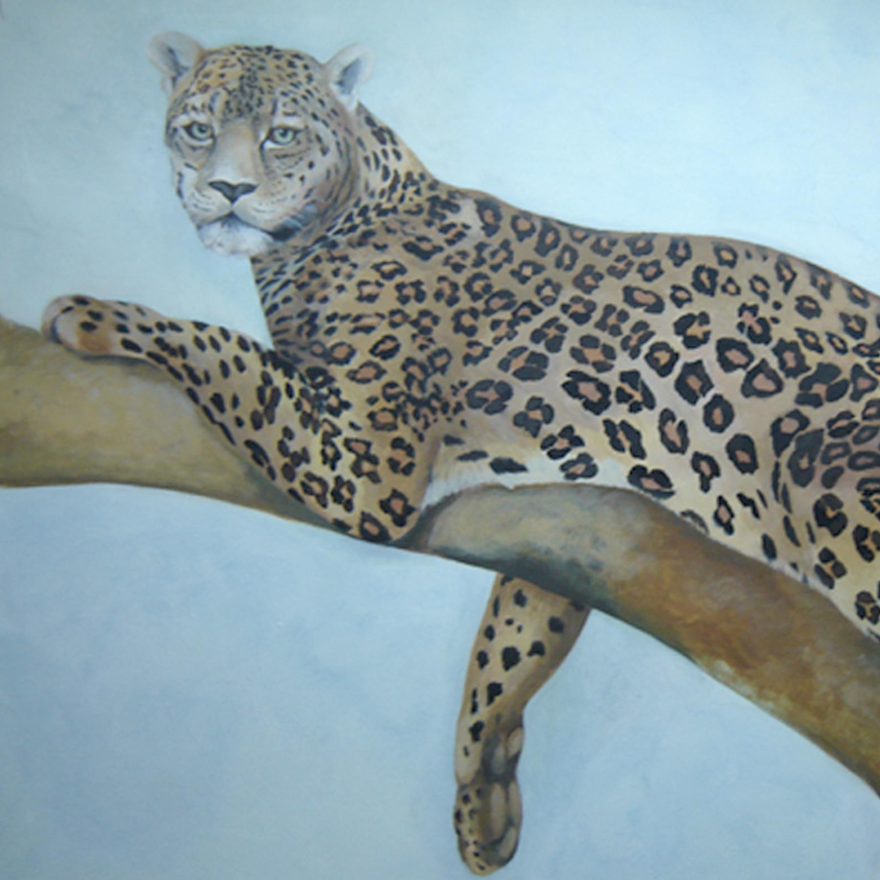 Pintura decorativa leopardo mural tienda caza armeria animales madrid toledo
