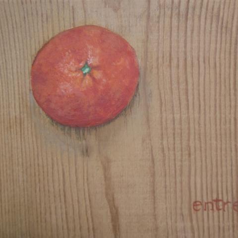 Pintura decorativa mandarina dibujos muebles madera frutas cocina