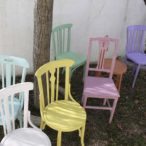 sillas tonet colores chalk paint transformacion reciclaje restauracion muebles mobiliario vintage antiguedades decoracion interiorismo madrid toledo