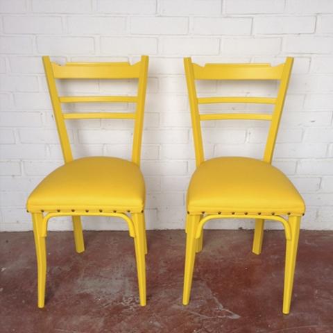 sillas amarilla transformacion reciclaje restauracion muebles mobiliario vintage antiguedades decoracion interiorismo madrid toledo