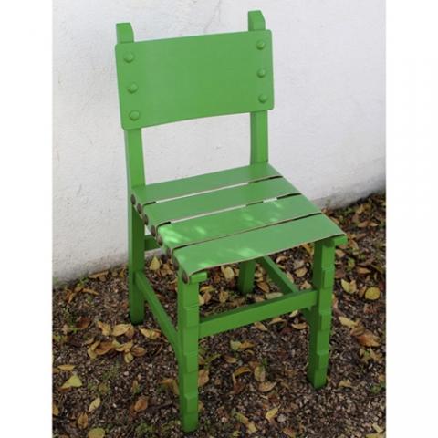 silla verde castellana cuero transformacion reciclaje restauracion muebles mobiliario vintage antiguedades decoracion interiorismo madrid toledo