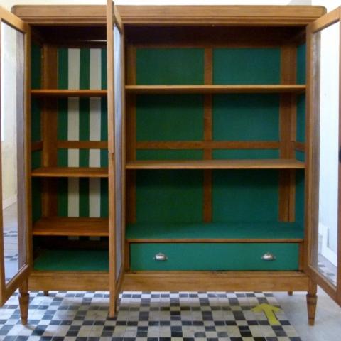 transformacion Armario Alacena puertas pintura interior verde reciclaje antiguo