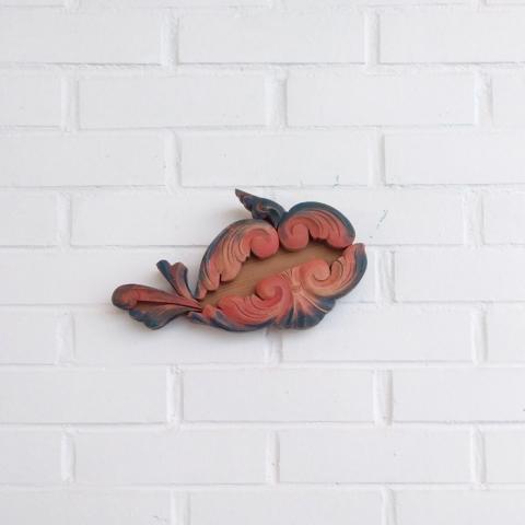 pez colgar decoracion pared madera antiguas molduras vintage color teja azul dormitorio niños infantil composicion mural