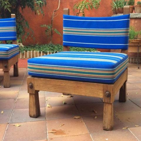 Sillón rayas butaca jardín reciclada madera