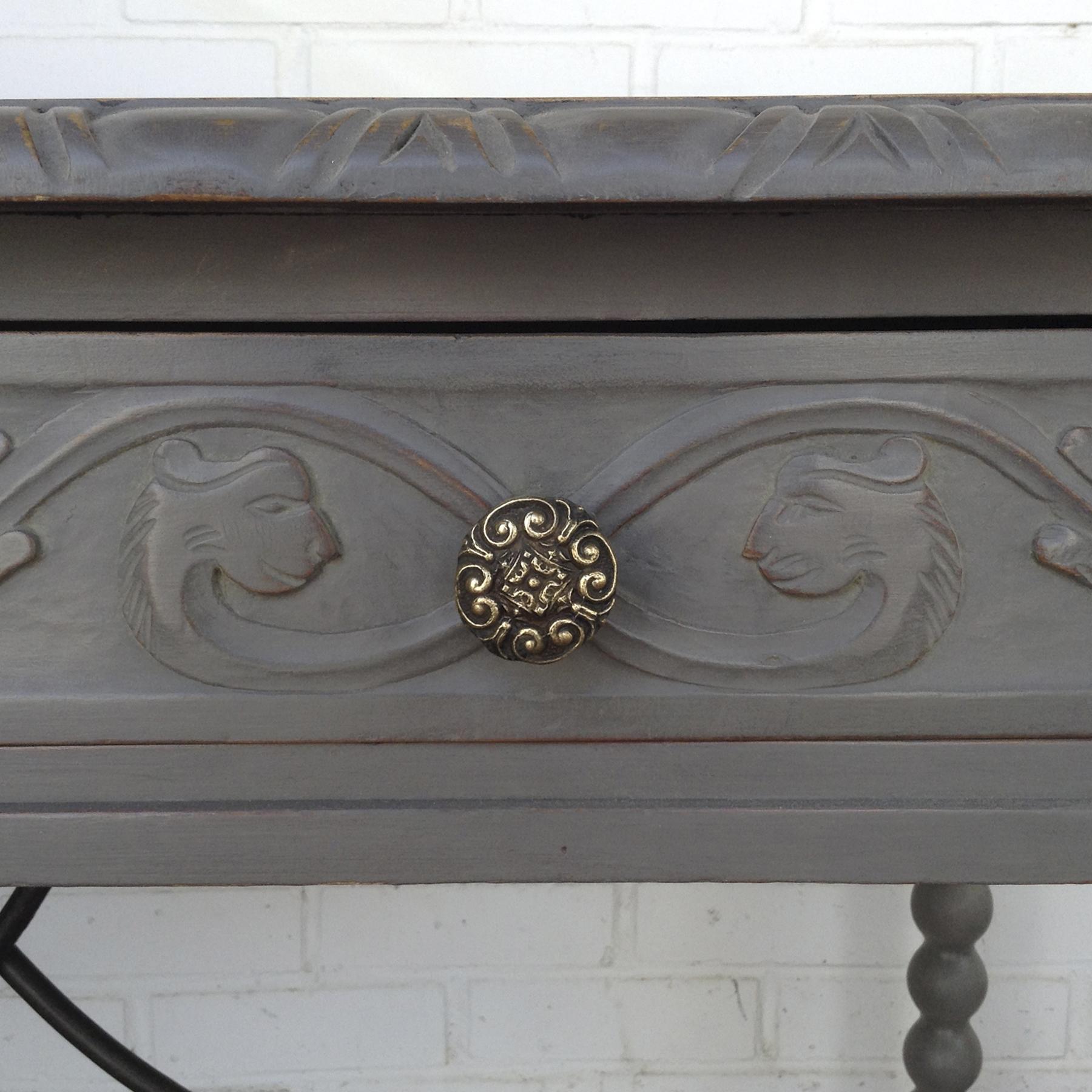 escritorio vintage gris madera