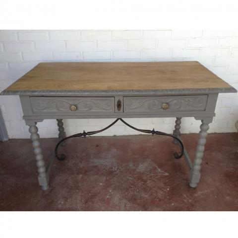 escritorio vintage gris madera antiguo