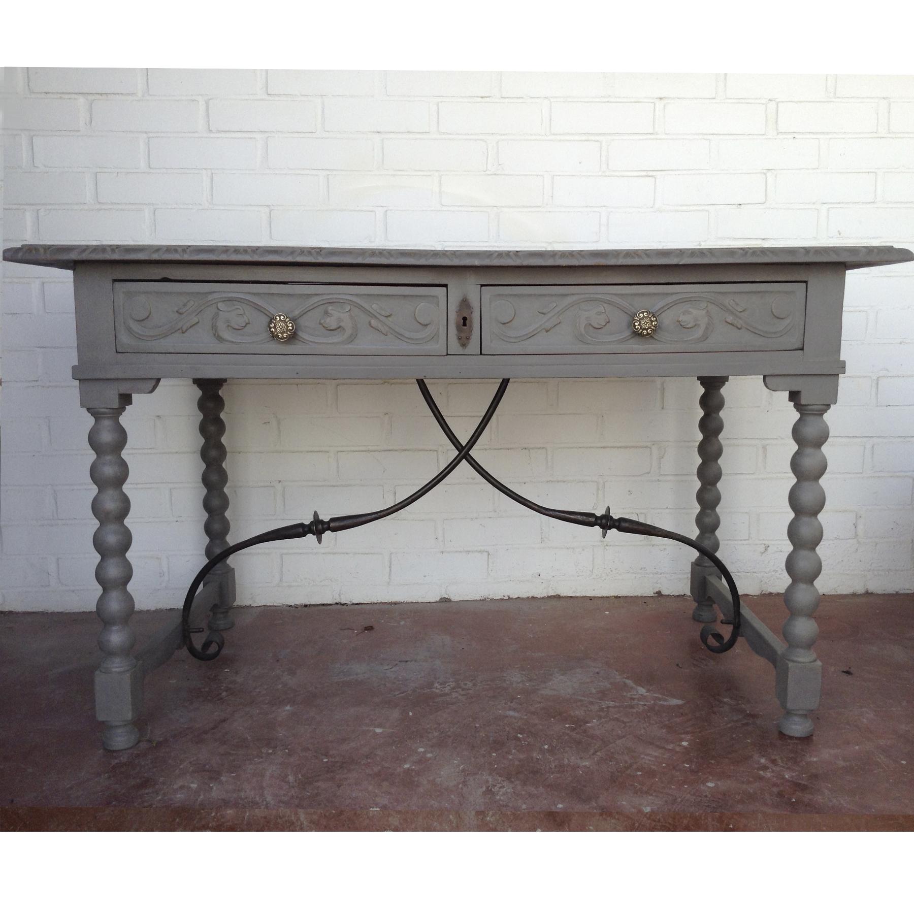 escritorio vintage gris madera 3