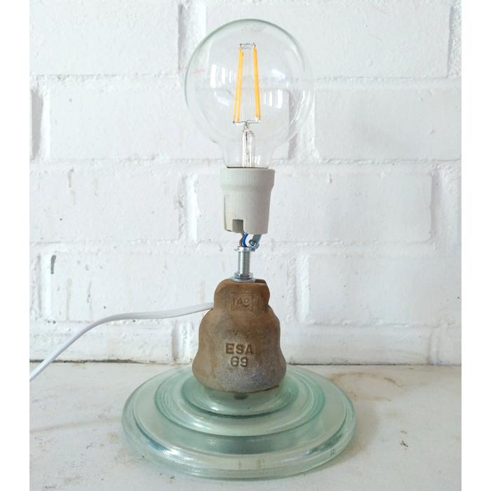 lampara industrial original vidrio aislador jicaras original sobremesa