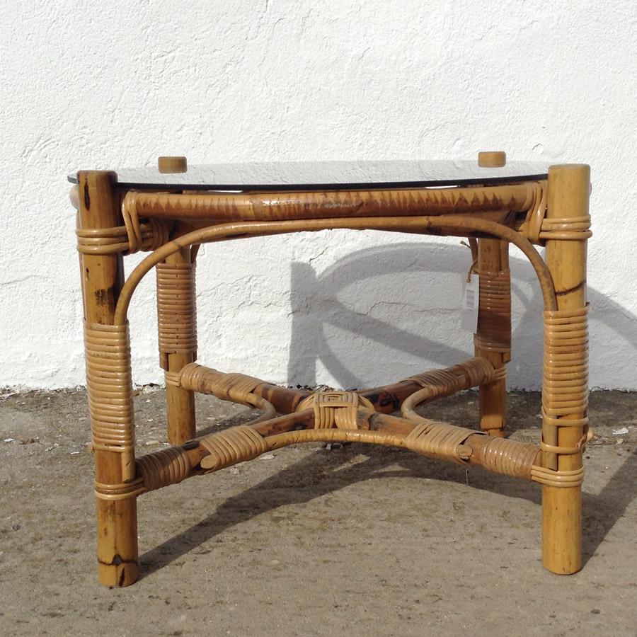 mesa bambu redonda centro cristal ahumado estilo vintage retro terraza porche decoracion mobiliario madrid 2