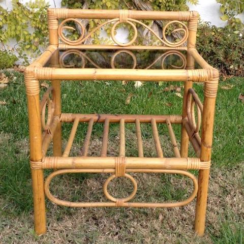 mesilla bambu caña estilo vintage retro cristal mobiliario natural terraza exterior 1
