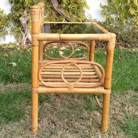 mesilla bambu caña estilo vintage retro cristal mobiliario natural terraza exterior 2