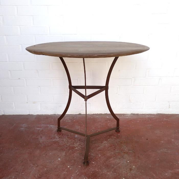 velador mesa redonda madera hierro vintage industrial madera natural roble pequeña