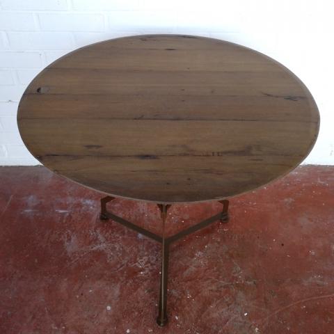 velador mesa redonda madera hierro vintage industrial madera natural roble pequeña 3